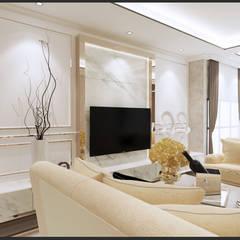 Semi-Detached Houses Design - Senibong Villa Johor,Malaysia:  Living room by Enrich Artlife & Interior Design Sdn Bhd