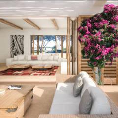 Vivienda Unifamilar - Ibiza - España: Livings de estilo mediterraneo por MADBA design & architecture