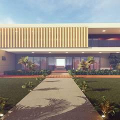 Fachada durante o dia da casa contemporânea: Casas pré-fabricadas  por Vortice Arquitetura