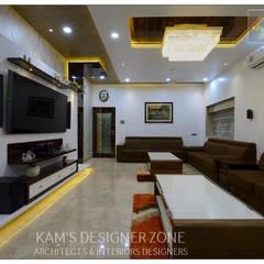 Living Room Interior Design of Mr. Zeeshan Sayyed:  Living room by KAM'S DESIGNER ZONE