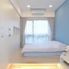 竹北市 汪公館:  臥室 by 奇恩室內裝修設計工程有限公司