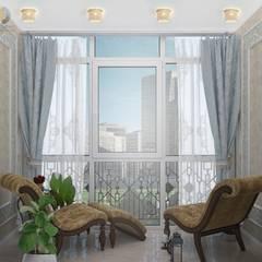 Дизайн трехкомнатной квартиры 115 кв. м: Окна в . Автор – Группа Компаний 'Фундамент', Эклектичный