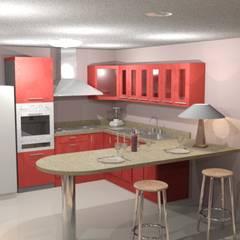 Cocina roja render 3D: Cocinas integrales de estilo  por Cosmoservicios SAS