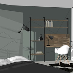 Chambre// Dressing en tête de lit // Appartement La Garenne-Colombes: Bureau de style de style Scandinave par FABRIQUE D'ESPACE