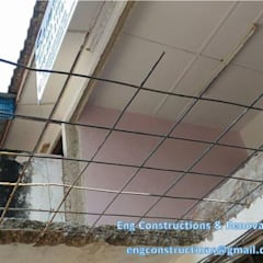 Balcony Asian corridor, hallway & stairs by Sam Contractors Ipoh Asian Bricks