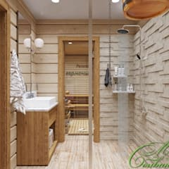 Баня как территория отдыха: Ванные комнаты в . Автор – Компания архитекторов Латышевых 'Мечты сбываются'