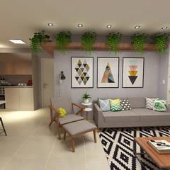 O estar/jantar e área privativa dos sonhos!: Salas de estar escandinavas por Bianca Goulart Design