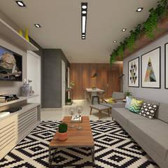 O estar/jantar e área privativa dos sonhos!: Salas de jantar  por Bianca Goulart Design