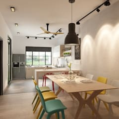 : industrial Dining room by Jannovative Design