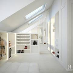 Elegancka garderoba: styl , w kategorii Garderoba zaprojektowany przez ANNA ORLIKOWSKA ARCHITEKTURA WNĘTRZ