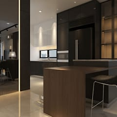 Dry Kitchen with breakfast counter :  Kitchen by Muse Studio