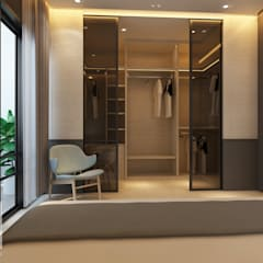 Master walk in wardrobe paneling :  Dressing room by Muse Studio