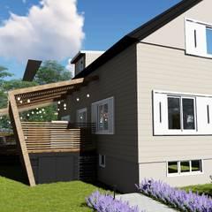 Fachada lateral e deck: Casas familiares  por Studio²