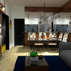Sala de estar integrada com a sala de jantar: Salas de jantar industriais por TRAIT ARQUITETURA E DESIGN
