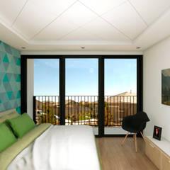 Vista Interior de la recámara: Casas unifamiliares de estilo  por Variable