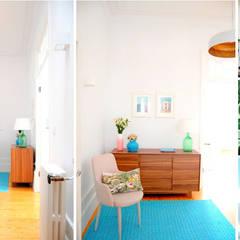 Reabilitação e interiores de habitação - PORTO: Corredores e halls de entrada  por Coxim Creative Factory