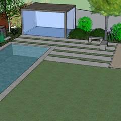 Detalle 3D de piscina y gimnasio requerido por clientes: Jardines de estilo  por Aliwen Paisajismo