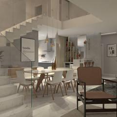 Casa RN-17: Salas de estar escandinavas por Agenor Gomes Arquitetura + Design
