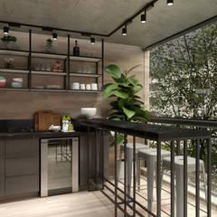 Varanda Gourmet: Salas de jantar industriais por Agenor Gomes Arquitetura + Design