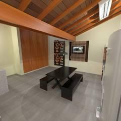 Espaço para reunião de familia: Armários e bancadas de cozinha  por Seu Projeto Arquitetura