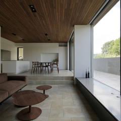 対岸の緑を望むLDK|三鷹の家: U建築設計室が手掛けた窓です。