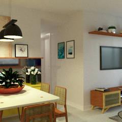 Sala de jantar e sala de estar: Salas de jantar industriais por Toca da Oca