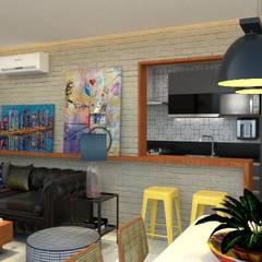 Sala e cozinha integradas: Salas de jantar industriais por Toca da Oca