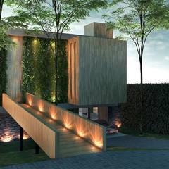 Fachada Frontal: Casas familiares  por Paulo Stocco Arquiteto