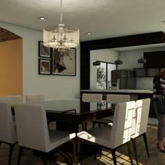 Casa Residencial CRC : Cocinas equipadas de estilo  por Bocetos Studio Aquitectos