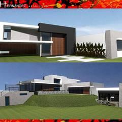 VIVIENDA EN CURACAVI: Pasillos y hall de entrada de estilo  por H3A ARQUITECTOS