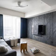 《上選》現代風格設計:  客廳 by 極簡室內設計 Simple Design Studio, 簡約風 砂岩