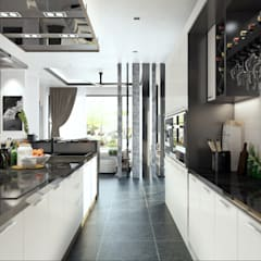 DINING WITH THE DRY KITCHEN:  Kitchen by Enrich Artlife & Interior Design Sdn Bhd