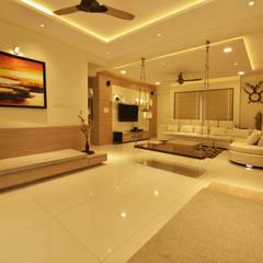 اتاق نشیمن توسطGREEN HAT STUDIO PVT LTD, مدرن تخته سه لایی