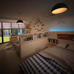 HEBART MİMARLIK DEKORASYON HZMT.LTD.ŞTİ. – Sinpaş lagün İris tip villa iç dekorasyonu:  tarz Erkek çocuk yatak odası
