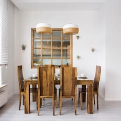 Urok naturalnego drewna: styl , w kategorii Jadalnia zaprojektowany przez Perfect Space