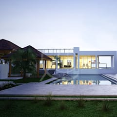 Wagon Modern Detached House Design:  Infinity pool by Comelite Architecture, Structure and Interior Design