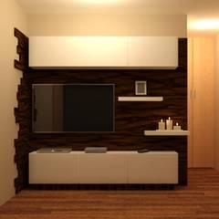 Sala de TV: Salas multimedia de estilo moderno por Perfil Arquitectónico