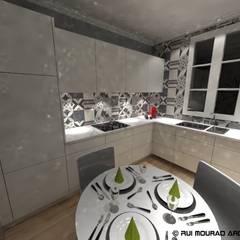 Casa TBSC: Armários de cozinha  por RMA - Rui Mourão Arquitecto Unipessoal Lda