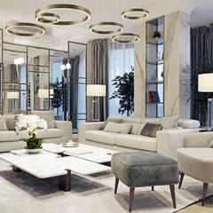 Salon ściana z lustrami: styl , w kategorii Salon zaprojektowany przez MIKOŁAJSKAstudio