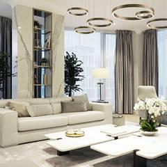 Salon w stronę okien: styl , w kategorii Salon zaprojektowany przez MIKOŁAJSKAstudio