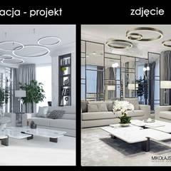 wizualizacja kontra zdjęcie-widok salonu: styl , w kategorii Salon zaprojektowany przez MIKOŁAJSKAstudio