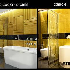 wizualizacja kontra zdjęcie - złota łazienka: styl , w kategorii Łazienka zaprojektowany przez MIKOŁAJSKAstudio