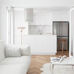 클래식하고 따뜻한 20평대 빌라 인테리어: husk design 허스크디자인의  거실,클래식