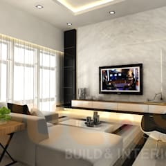 double storey house in cheras:  Living room by Yucas Design & Build Sdn. Bhd.