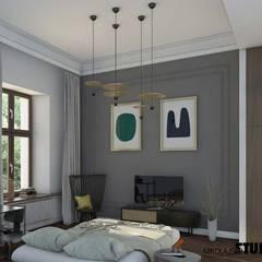tonacja szara w sypialni: styl , w kategorii Sypialnia zaprojektowany przez MIKOŁAJSKAstudio