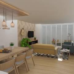 Diseño interior de departamento: Salas de estilo  por 78metrosCuadrados