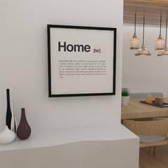 Diseño interior de departamento: Salas de estilo  por 78metrosCuadrados, Escandinavo