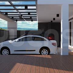 cheras double storey house:  Carport by Yucas Design & Build Sdn. Bhd.
