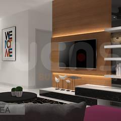 condo at mahkota cheras:  Living room by Yucas Design & Build Sdn. Bhd.