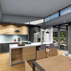 Mooikloof House:  Built-in kitchens by du Toit Arch, Modern Wood Wood effect